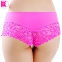 5pcs/lot Women Seamless Boyshort Underpants One-piece Panties Female Ice Silk Lace Briefs Boxer Bragas Underwear Girls 9002P5