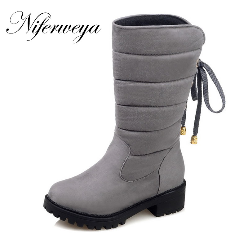 2016 Winter warm women snow boots fashion Round Toe suede thick heel shoes big size 30-52 ladies Slip-On bowknot Mid-Calf boots