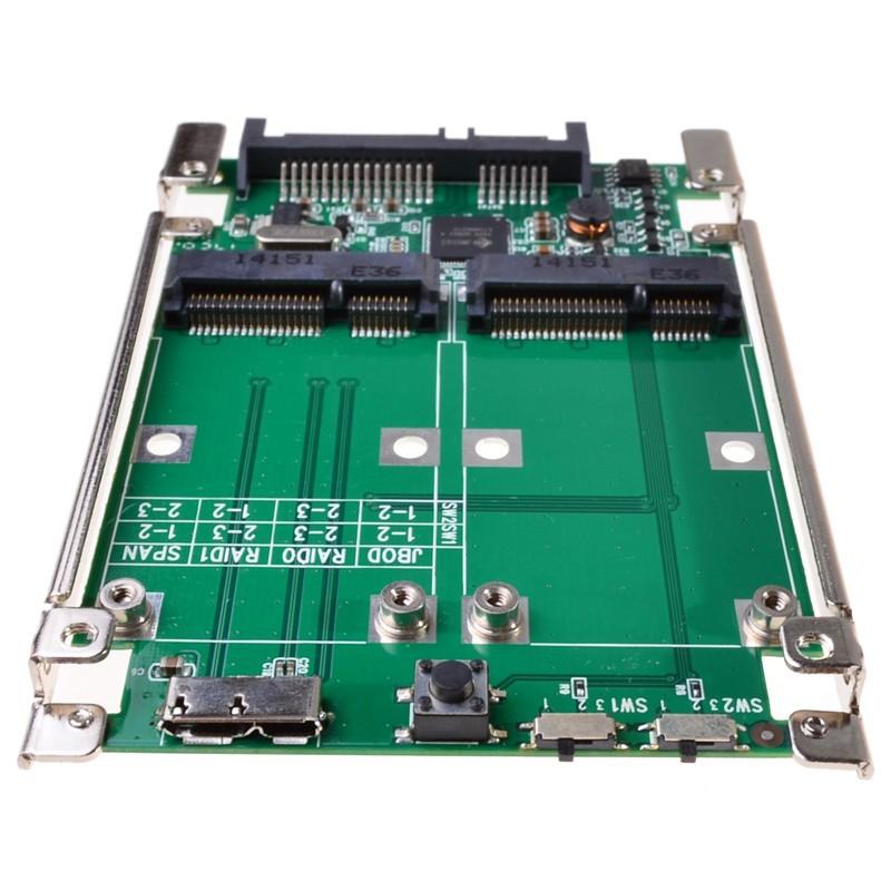 2.5 SATA III to dual mini SATA USB 3.0 to 2 mSATA SSD Raid controller card Converter with cable (3)