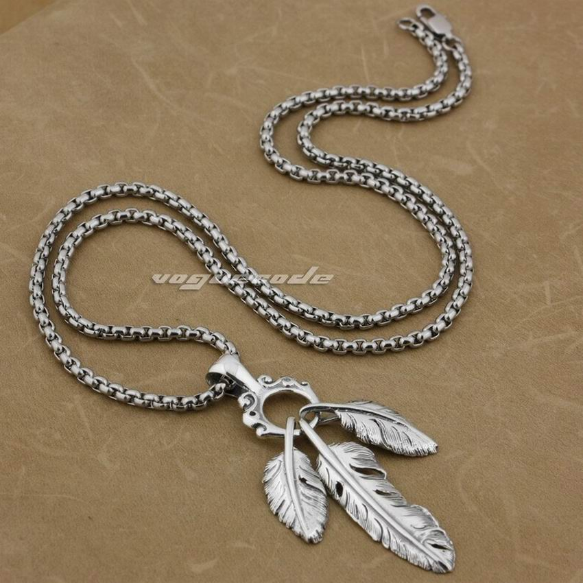 LINSION 925 Sterling Silver Three Feathers Mens Biker Rock Punk Pendant 9E014