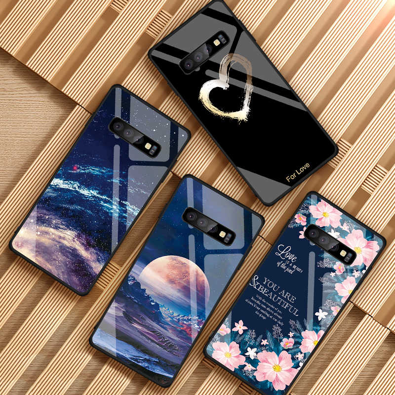 Starry Sky Pattern Tempered Glass Case For Samsung Galaxy S10 Plus S10e Shockproof Hard Phone Cases For Samsung S10+ S10 Cases