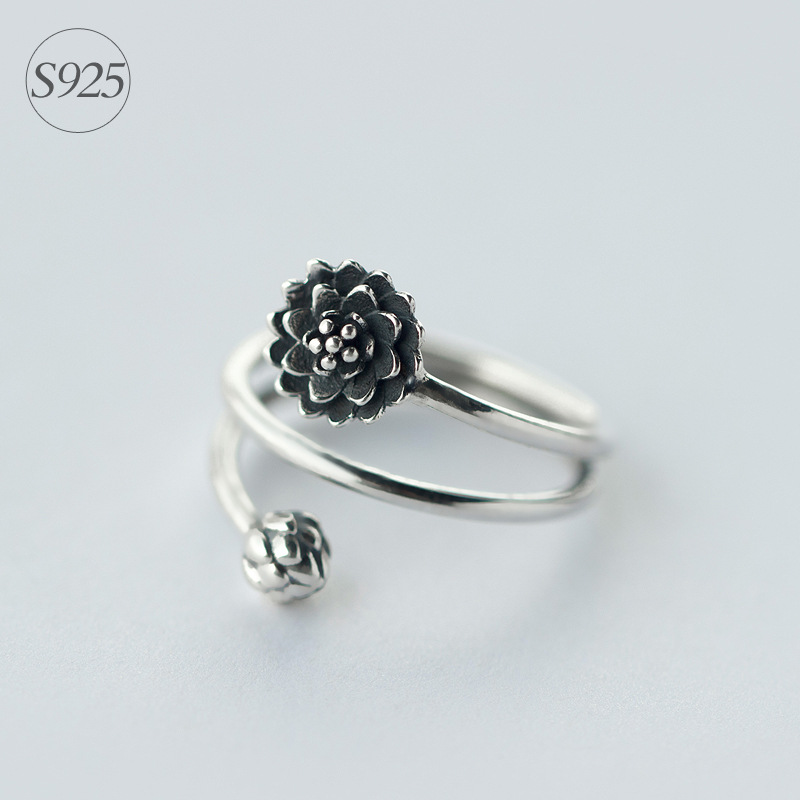 Retro REAL.Solid 925 Sterling Silver 3-layers Multi-Rows Lotus Flower - Perhiasan bagus - Foto 1