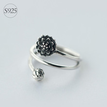 Retro REAL.Solid 925 Sterling Silver 3-lager Multi-Rows Lotus Flower & Bub Ring Namaste Yoga GTLJ911