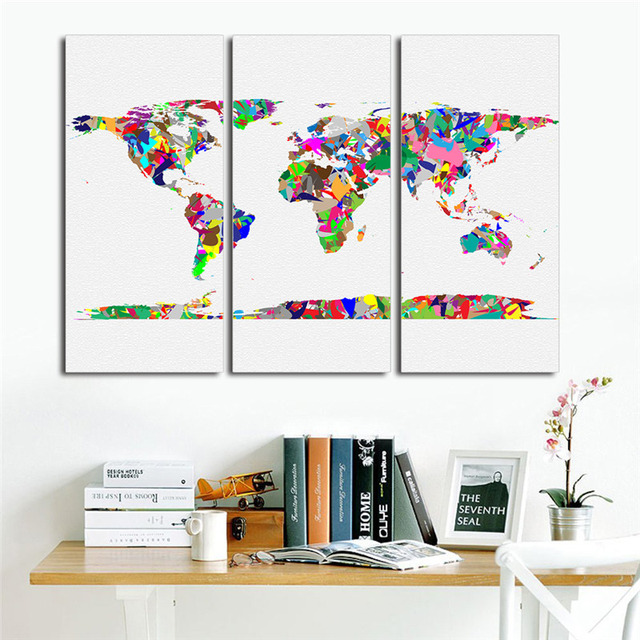 Modern colorful 3pcs world map wall sticker vintage poster canvas modern colorful 3pcs world map wall sticker vintage poster canvas oil painting cuadros living room decor gumiabroncs Images