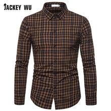 JACKEYWU Plaid Shirt Men 2019 Korean Classic Long Sleeve Casual Shirts 100% Cotton Linen Camisa Masculina Mens Clothing Black