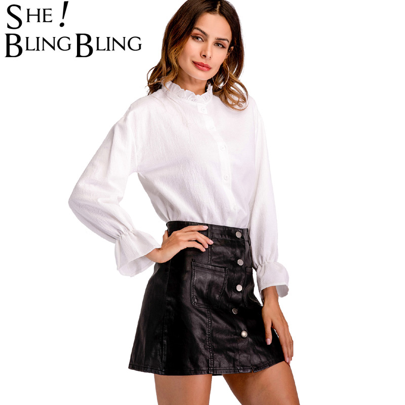SheBlingBling Office Lady White Shirts Spring Summer Fashion Frill Neck Drop Shoulder Shirt Flare Cuff Long Sleeve Tops