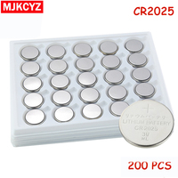 200pcs/Lot CR2025 3V Cell Coin Button Battery lithium Li ion ECR2025 DL2025 BR2025 KL2025 L2025 Watches,clocks toys