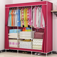 Simple solid color wardrobe bedroom folding cloth wardrobe padded fabric closet convenient storage cabinet home furniture