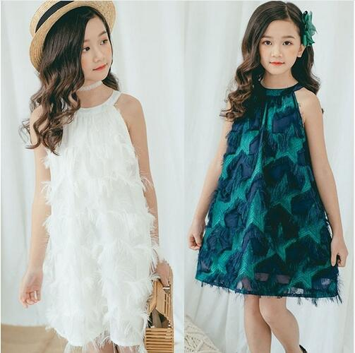 Teenage Girl Summer Dress Size 10 12 14 White Party Wedding Little Girl Dresses Princess Kids Clothes Age 4 6 8 Green Clothing 1