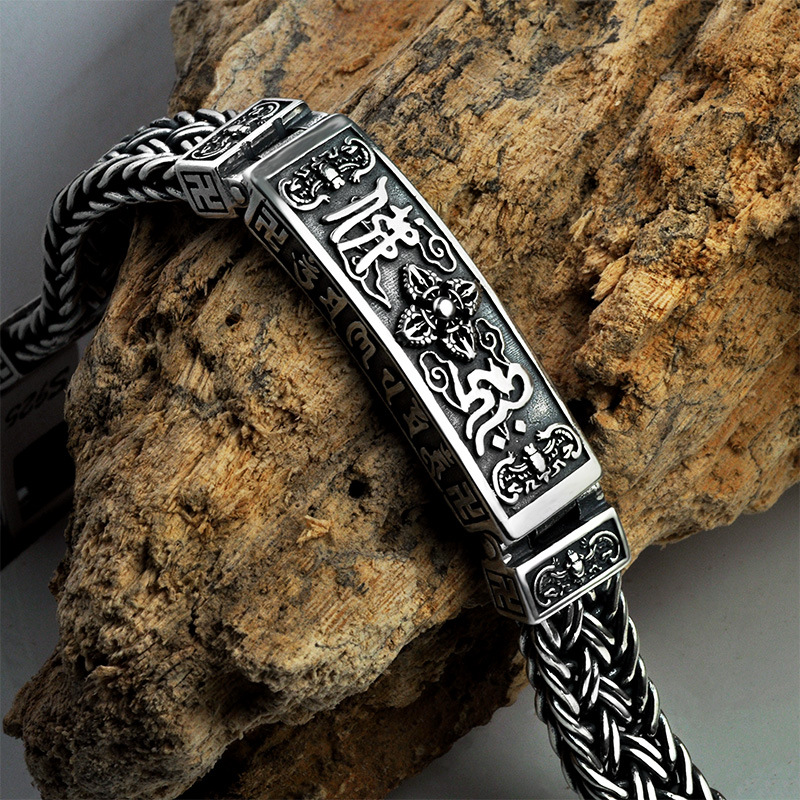 S925 Sterling Silver Six Words Braided Bracelet & Bangle Buddha Tibetan Mantra Link Chain 14mm Band Bracelet цена 2017