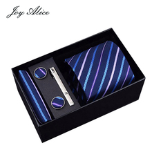New Blue striped Plaid Tie Hanky Cufflinks&clips Sets Mens 100% Silk Ties for men Formal Wedding Party Groom gift box packing