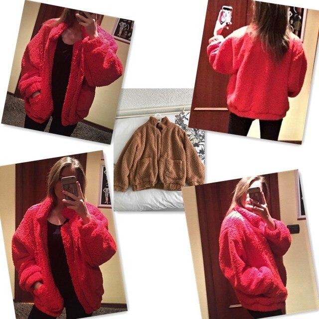 Naiveroo Lapel Sweatshirt Fleece Fur Coat 2018 Women Autumn Winter Warm Soft Jacket Thick Plush Zipper Overcoat Short Outerwear 5