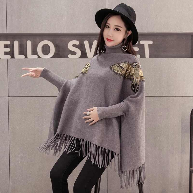 출산 의류 스웨터 여성 느슨한 대형 술 박쥐 셔츠 높은 칼라 목도리 짙어지면서 가을 겨울 패션 출산
