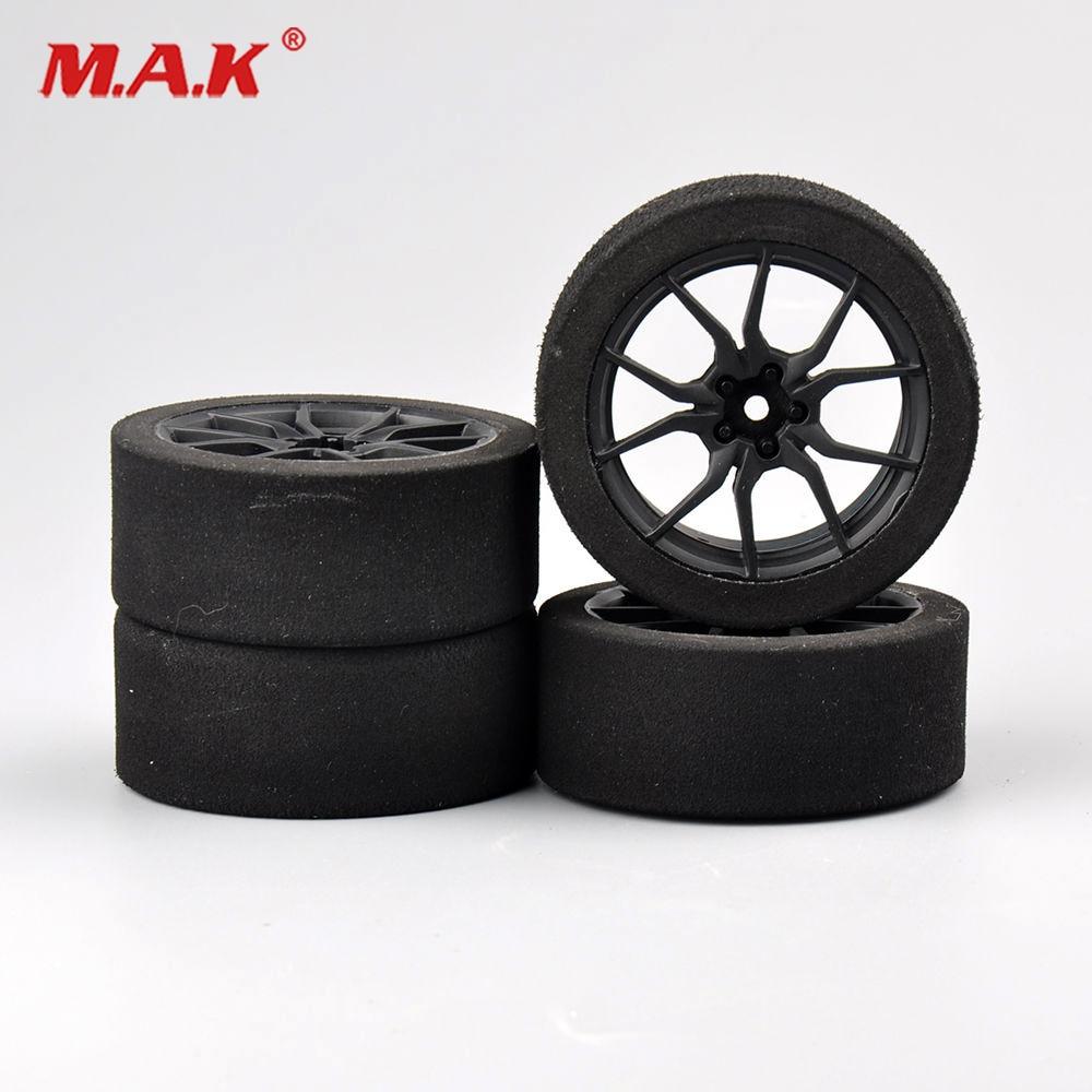 12mm Hex 4Pcs/set Racing Foam Tire Wheel Rims Set For HSP HPI 1/10 On-road RC Car 4pcs aluminum alloy 52 26mm tire hub wheel rim for 1 10 rc on road run flat car hsp hpi traxxas tamiya kyosho 1 10 spare parts