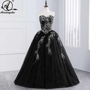 2018 Black Quinceanera Dresses Tulle With Embroidery Beaded Sweet 16 Dresses Puffy Ball Gown Vestido De 15 Anos Vestidos(China)
