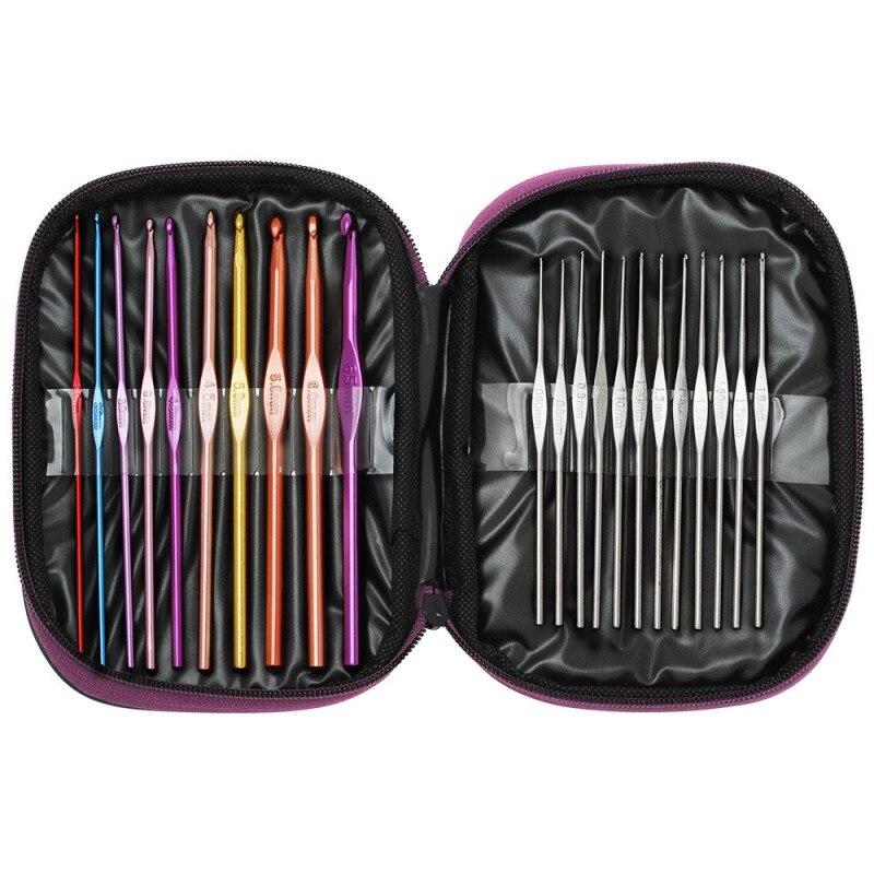 22 pcs Multicolore Aluminium Crochet Aiguilles À Tricoter Set D'armure Artisanat avec Sac