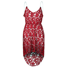 New Fashion Women's Spaghetti Strap Sleeveless Sexy Vestidos V-neck Lace Hollow Out Spring Summer Maxi Clothes