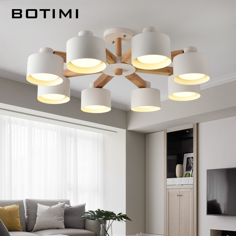 BOTIMI Nordic 220V LED Chandelier With Iron Lampshade For Living Room Modern Wooden White Lustres Wood Foyer Chandelier Lighting