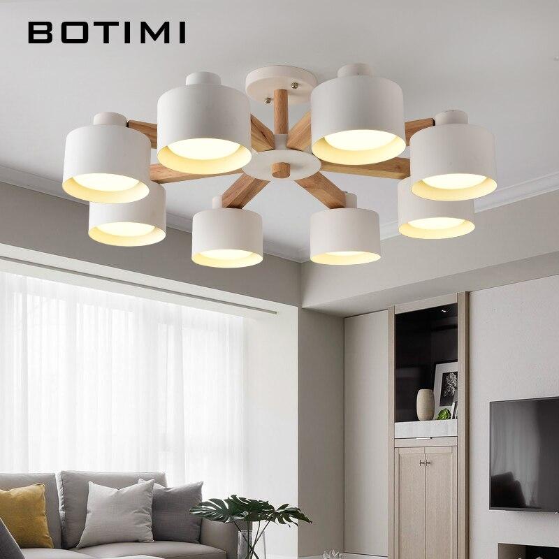 Işıklar ve Aydınlatma'ten Avizeler'de BOTIMI Nordic 220V LED avize demir abajur oturma odası Modern ahşap beyaz cilalar ahşap fuaye avize aydınlatma title=