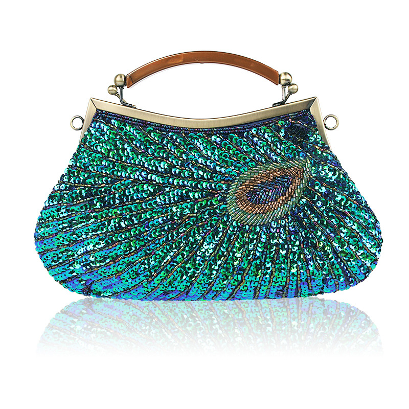 2017 Vintage Women Clutch Bags Peacock Pattern Sequins Beaded Chain mini handbag Bridal Purse luxury Evening Party Wedding Gifts etaill glitter sparkling women clutch bags sequins beaded chain mini handbags bridal purse luxury party evening bag wholesale