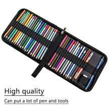 36 48 72 Holes Folded Canvas School Pencils Case Professional Colored Pencil Bag Case Portable Zipper