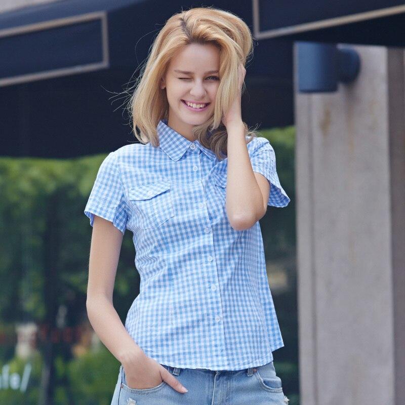 ღ ƹ ӝ ʒ ღveri Gude Women Plaid Shirts Short Sleeve Plaid Blouse