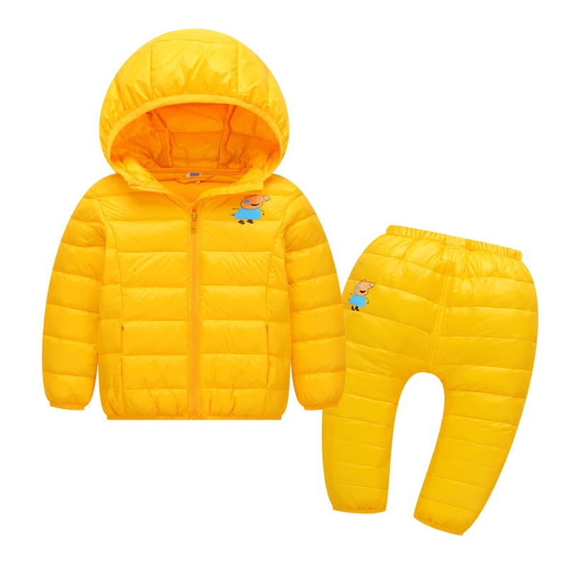 2017 winter children down & parkas set pants kids outerwear boys casual warm hooded girls solid color kids warm coats overalls цены онлайн
