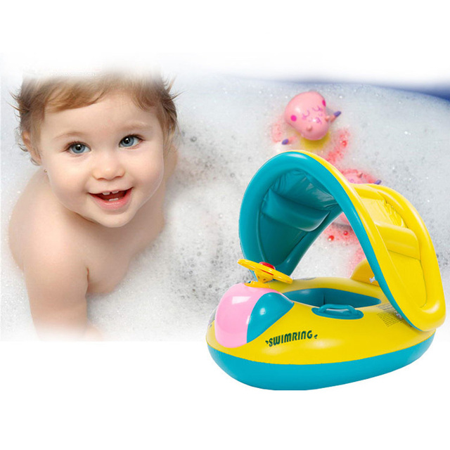 Safety inflatable baby swim ring float seat swimming pool floating seat with canopy baby swim float boat water toy drop shipping