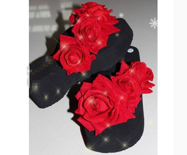 7c95cc4cb235dd HAHAFLOWERSummer Fancy Women Flower Pearl Sandals Wedge Beach Slippers  Bohemia Flip-Flops Shoes Handmade