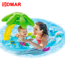 DMAR Inflatable Swimming Ring Baby Infant Pool Float Toys With Canopy Sea Mattress Beach Party Kids Adults Flamingo Unicorn Donu