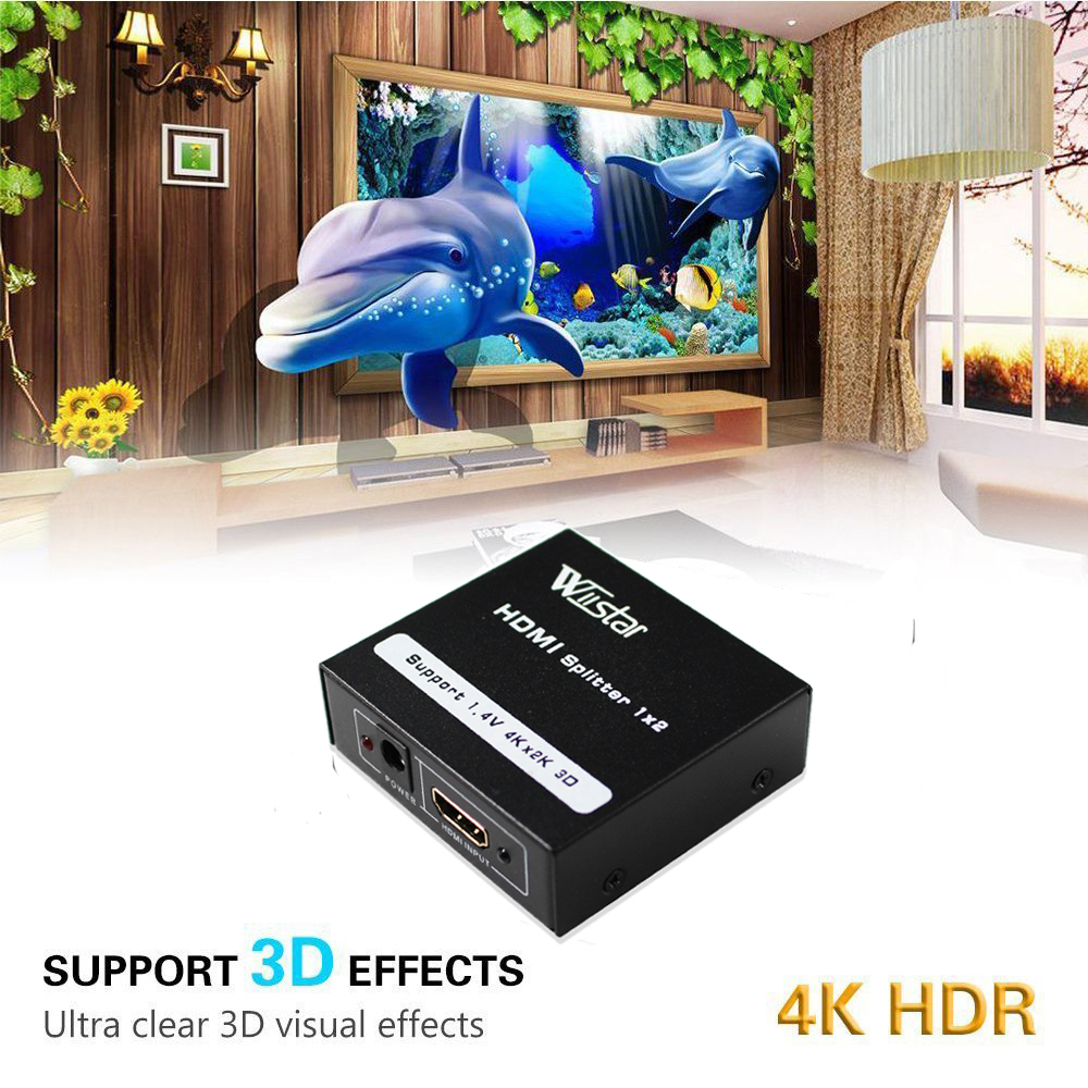 Wiistar <font><b>HDMI</b></font> <font><b>Splitter</b></font> <font><b>1x2</b></font> <font><b>HDMI</b></font> 1.4 Converter 1080P 1 In 2 Out Switcher Support 1.4V 4K 2K 3D for HDTV STB <font><b>HDMI</b></font> <font><b>Splitter</b></font> 2 Ports image