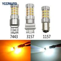 YCCPAUTO 1 Paire 1157 BAY15D 3157 7443 Voiture Led DRL Signal Queue lumières Blanc Ambre Auto Lumière 42 LED Super Bright Ampoules 2835SMD