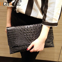 HIGHREAL Women Envelope Evening Clutch Bags White Crocodile Pattern Female PU Leather Shoulder Bags Crossbody Purses
