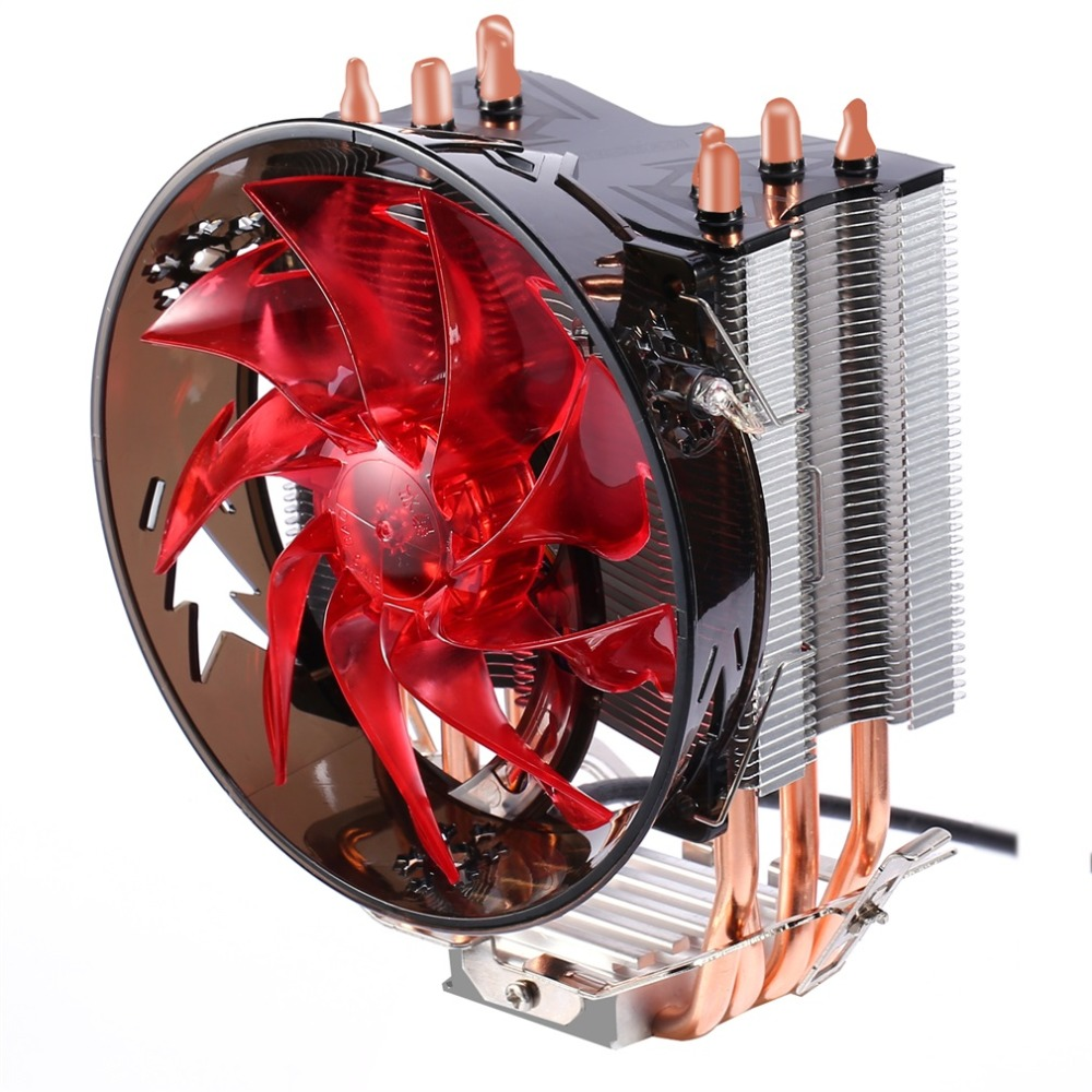 Red & Blue CPU <font><b>Cooler</b></font> Copper Four Heat Pipe CPU Radiator Brass Tower CPU Fan 400 for INTEL 775/1155/<font><b>1156</b></font>/1151/1150/1366 AMD image