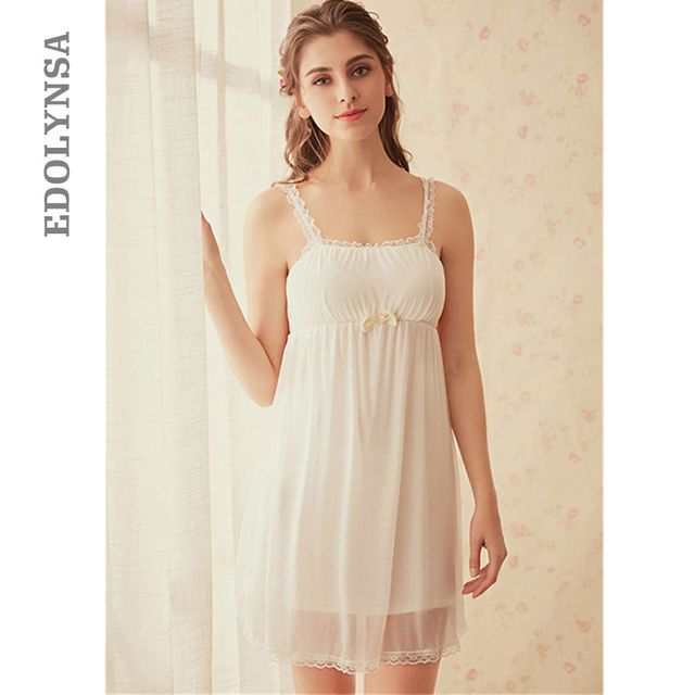 418eab215c8f Wedding Night Camisola Slip Lingerie Women Lace Strap Dress Sexy Sleepwear  White Cotton Night Gown Lace Chemise Bathrobe T193