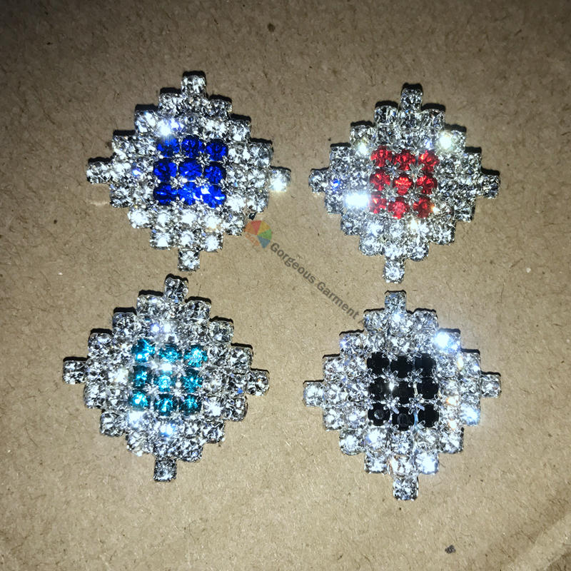 10pcs 23mm Royal blue Red Black Aquamarine Diamond rhinestone button crystal centerpieces DIY browband wedding hair decoration