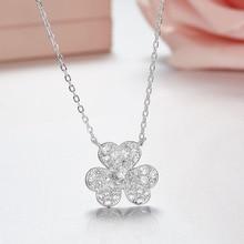 Pendant Necklace Luxury Jewelry Flower-Clover 925-Sterling-Silver Cubic-Zirconia Women
