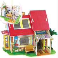DIY Wooden Toys Mini Houses 3D Jigsaw Puzzle Multicolor World Children S Educational Model Kit Simulation