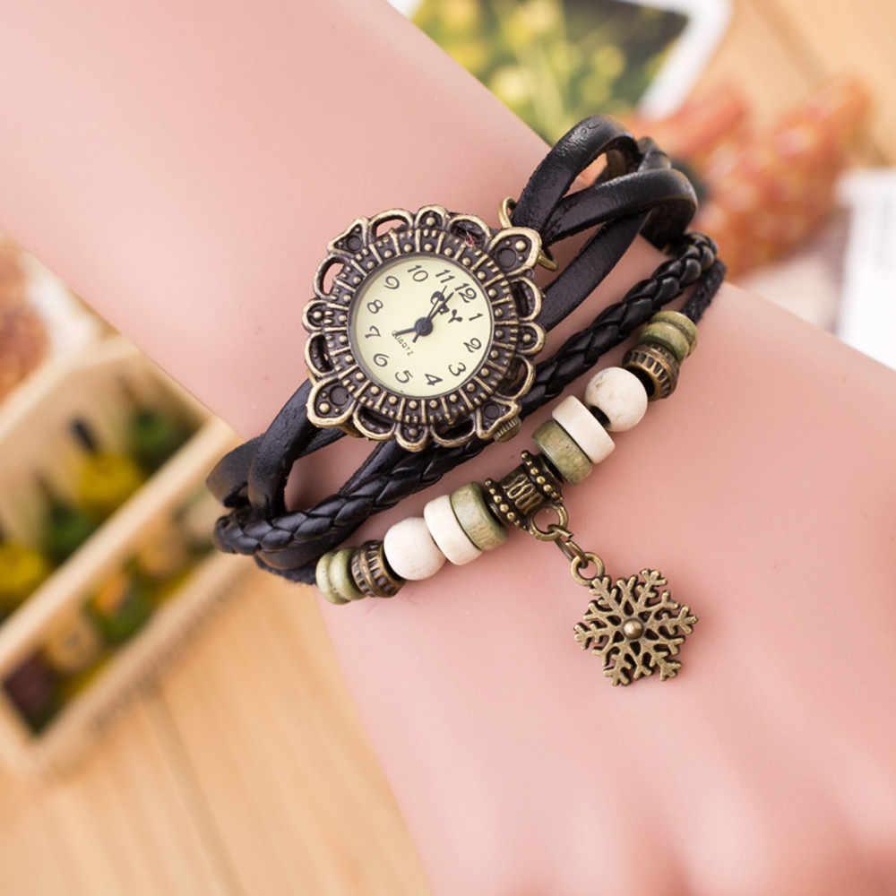 אישה לארוג סביב עור Snowflake צמיד ליידי קוורץ שעון יד 2019 חם Женские часы Reloj דה dama Wd3
