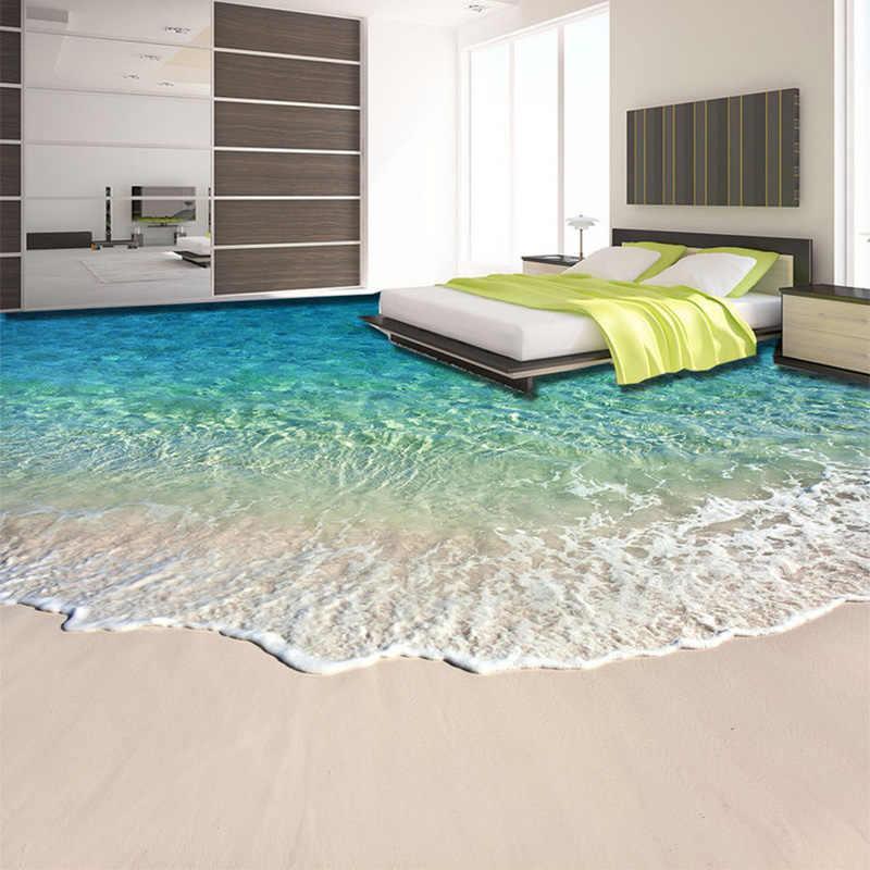 CUSTOM Self-adhesive FLOOR ภาพจิตรกรรมฝาผนังวอลล์เปเปอร์ 3D น้ำทะเลคลื่นพื้นสติกเกอร์ห้องน้ำสวมใส่ลื่นกันน้ำเอกสาร