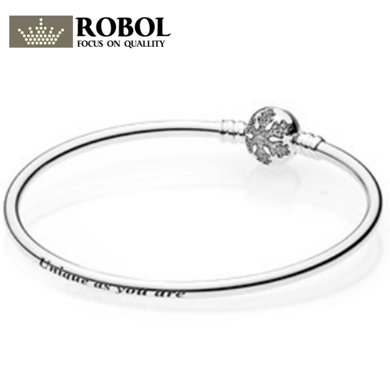 ROBOL Love Snake Chain Silver Color Fit Original Charm Bracelet Bangle Charm Bead For Women Gift Free Package Mail