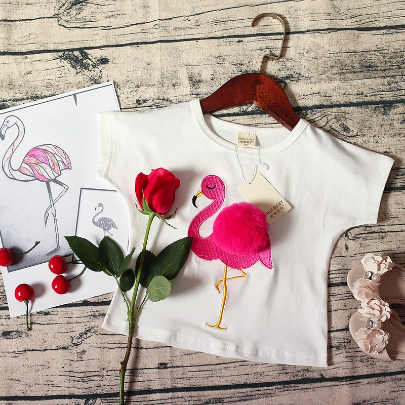BEFORW fashion baby girls shirt 3D wool ball flamingo embroidery girls t-shirt cotton short-sleeve pink O-neck children clothing trendy men s round neck geometric print short sleeve t shirt