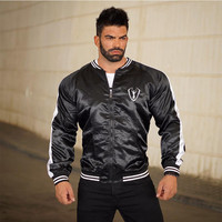 2018 Running Jacket Men Long Sleeved Hooded Jackets Striped Zipper Coat Fitness Sweatshirts Gym Workout Tracksuit Sportswear