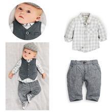 2015 modèles de Printemps gentleman costume bébé garçon 3 pcs plaid blouse vêtements set petit bebe roupas meninos