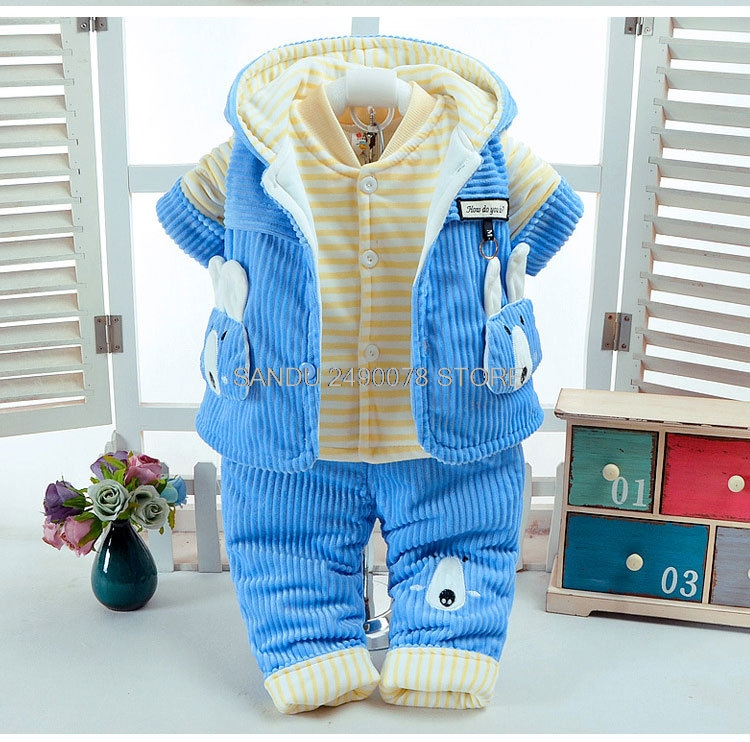 цена на Newborn Clothes set Baby Boys Jumpsuit Girls Thicken Warm Rompers Kids Infant Pajamas Plus velvet Flannel Coat+shirt+ pants 3pcs