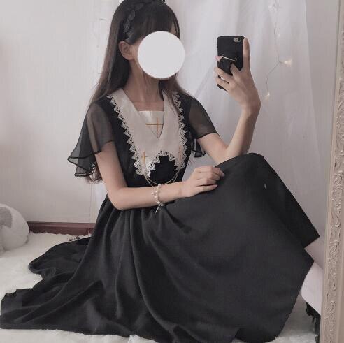 Gothique Lolita robe femmes noir croix brodé manches courtes robes en mousseline de soie