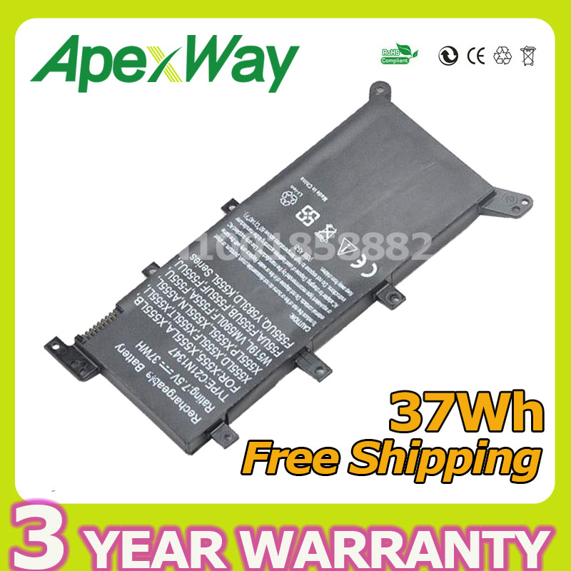 7.5V 37Wh New Battery C21N1347 Laptop Battery For ASUS X555 X555LD F555A X555L X555LB X555LN F555U W519L X555LF X555LP F555UA VM laptop heatsink fan radiator for asus x555 x555la x555ld x555ln x555lp k555 x455ld x455cc a455ld k455 x455 ld4210 x455 a555l