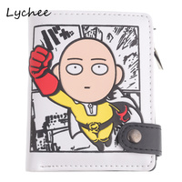 Lychee Anime Cartoon Flying One Ponch Man Wallet Holder White Color PU Leather Button Coin Mini