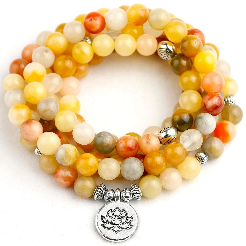 Natural Stone Topaz Beaded Bracelet Women 108 Mala Necklace 8MM Strand Men Jewelry Hot Sale New Design Drop Shipping