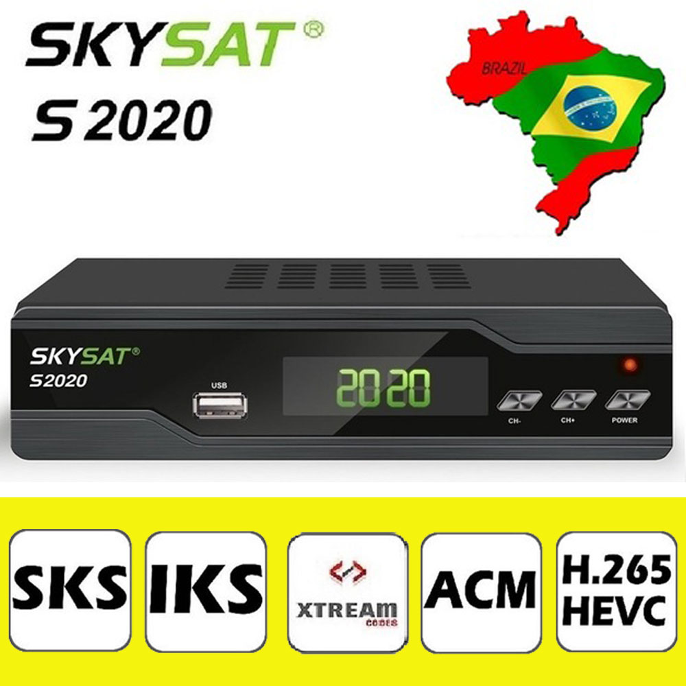 [Genuine] SKYSAT S2020 Twin Tuner Satellite Receiver IKS SKS ACM H.265 Xtream M3U PowerVu Full HD Channel DVB-S2 Set top box for world skysat s2020 twin tuner receptor acm iptv h 265 powervu biss satellite receiver media player